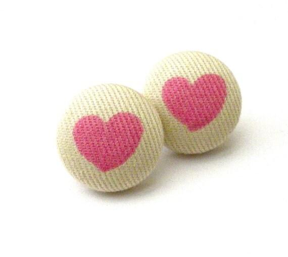 Valentines Day, Heart Earrings, Pink Heart, Button Earrings, Fabric Button, Seasonal, Pink Heart Earrings, Kid