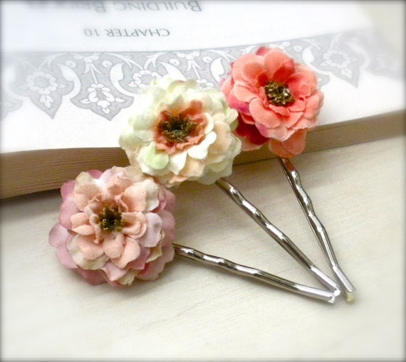 Garden Rose Flower Bobby Pins, Coral, Light Pink, Buttercup Yellow, Spring, Floral Bobby Pins, Hair, Floral Hair Accessory, Wedding