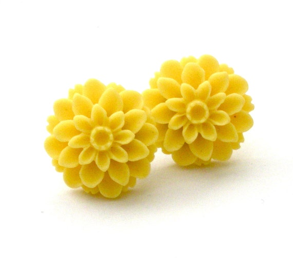 Sunshine Yellow Resin Cabochon Earrings, Canary Yellow, Spring, Jewelry, Yellow Earrings