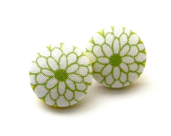 Button Earrings, Green, Flower Earrings, Green Flower, Stocking Stuffer