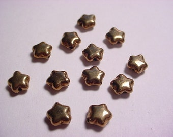 12 Bronze Glass 6mm Star Beads