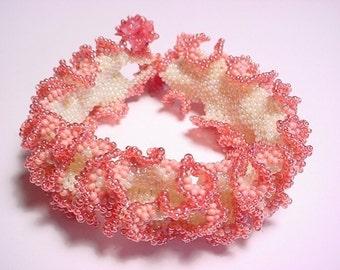 Rose Petal Ruffle Seed Bead Bracelet PDF Pattern