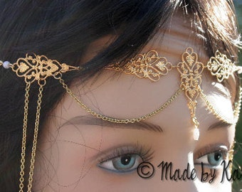 Maedieval Faery Tiara Necklace Circlet Wedding Gold or Silver