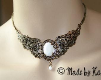 Bronze Vampire Wings Renaissance Choker Necklace Victorian Goth