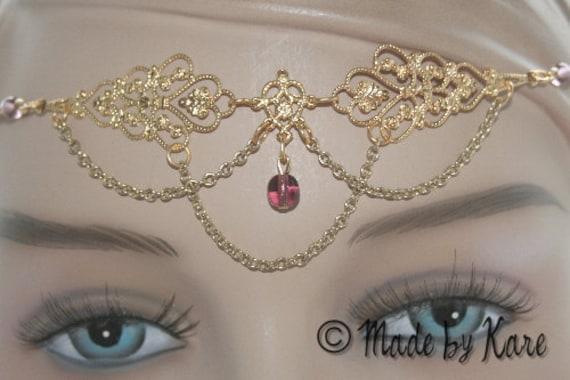 Marvelous Wedding Faery Circlet Tiara Necklace Gold & Amethyst