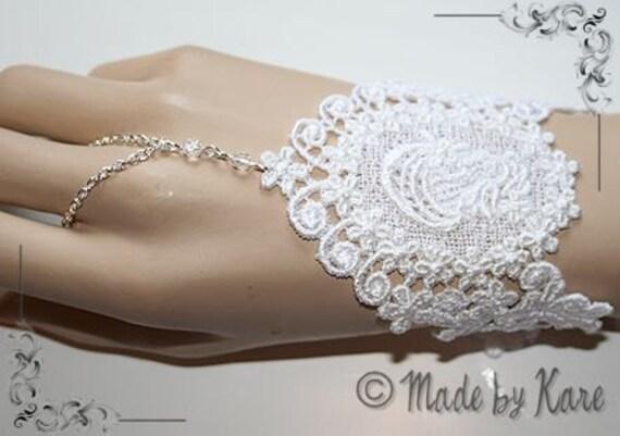 Slave Bracelet White Lace Wedding Medieval