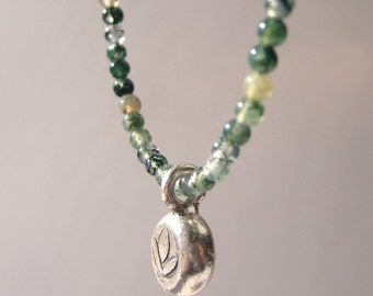 Green Moss Agate and Silver Lotus Blossom Charm Necklace