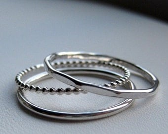 Sterling Silver Stacking Rings - Trio