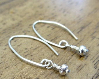 Simple Sterling Silver Everyday Earrings featuring Karen Hill Tribe beads