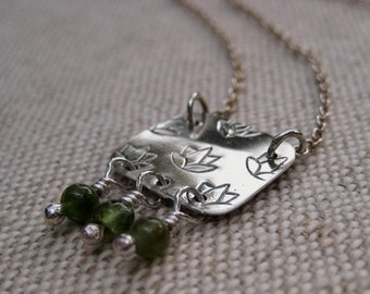 Sterling Silver Lotus Blossom Pendant Necklace with Green Tourmaline