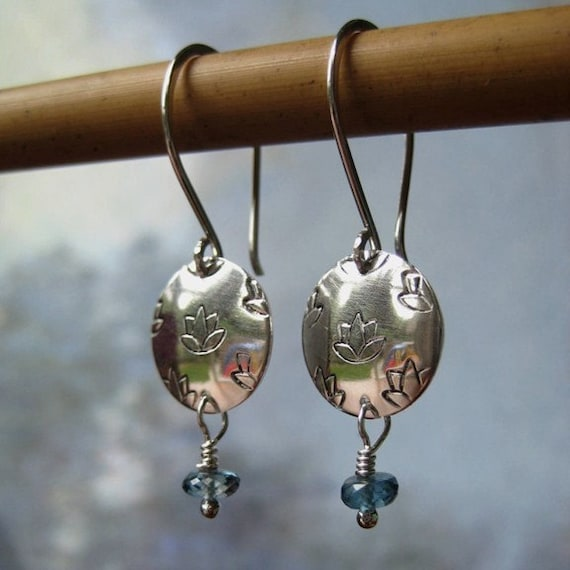 Lotus Blossom Earrings with London Blue Topaz