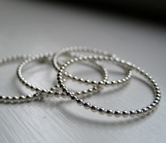 Little Dot Ring - Delicate Band of Thin Beaded Wire