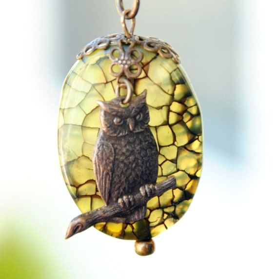 Green Dragon Vein Agate and antiqued brass owl charm pendant necklace