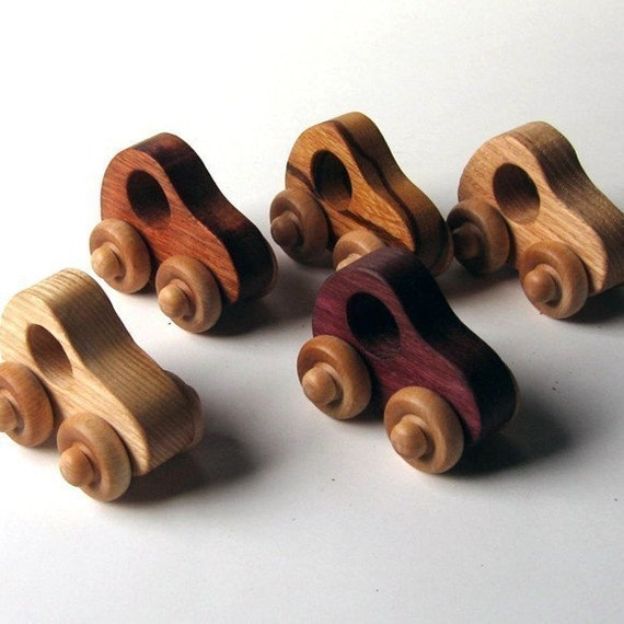 Natural Cars (set of 5) - ash, purpleheart, oak, cherry and marblewood