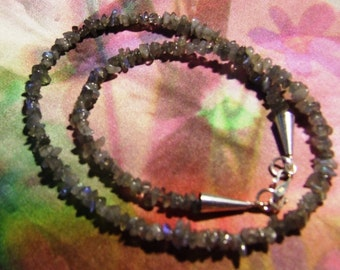 Irridescent Laboradorite Riviere necklace with an adorable Sterling S Clasp