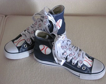 Baseball high top handpainted shoes, adult