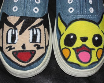 Childrens Pokemon handpainted shoes featuring Ash and Pikachu