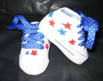 4th of July star shoes: red, white and blue MOST SIZES AVAILABLE