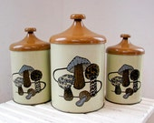 Vintage Cannister Set - Mushrooms Design - Fab Graphics and Colors