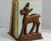 Vintage Deer Bookend - Carved Wood - 40s - 50s