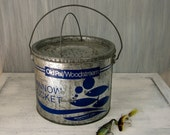Vintage Metal Minnow Bucket - New - Great Blue Fish Graphics -Father's Day