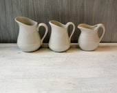3 Vintage Small White Pitchers - 1 McCoy - 1 French - All Porcelain