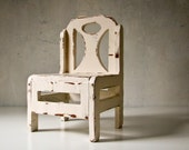 Vintage Doll Chair - Handmade - Rustic - Shabby Chic White