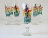 7 Vintage Pilsner Beer Glasses - Big Ben - London