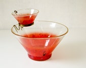 Vintage Chip Dip Bowl - Red Splatter Design - Atomic Chic