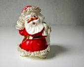 Vintage Ceramic Santa with Spaghetti Fringe Fur Trim