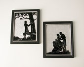 Vintage Silhouette Couple on Foil - Romantic - casual wedding