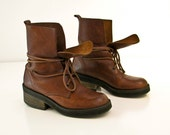 Rustic Brown Leather Boots - Woman Sz 6.5