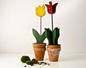 Vintage Wood Tulips - Garden Art