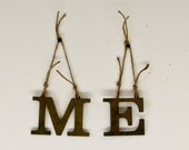 Vintage Solid Brass Letters - ME - wall hanging