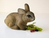 Vintage Velour Covered  Bunny -  Lifelike Rabbit