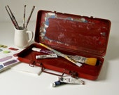 Red Painted Metal Tool Box - Pencil or Brush Holder - For the artist - under 30