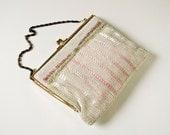 Vintage White and Pink Beaded Handbag