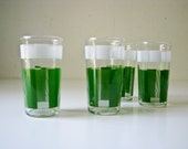 On Hold for Suz - Do Not Buy - 4 Vintage Drink  Glasses - Green and White Plaid
