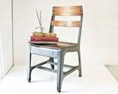 Vintage Child School Chair -  Wood and Metal - Back To School