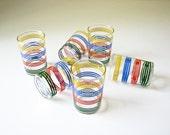 6 Vintage Juice Glasses - Colorful Stripes