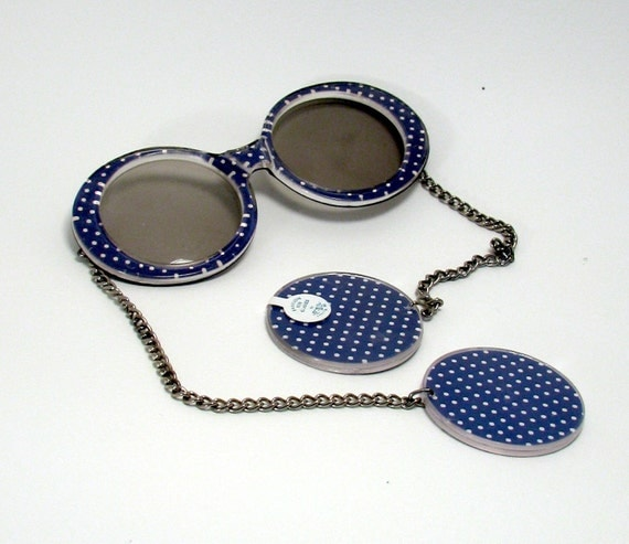 1960s Sunglasses with Earrings attached - Blue and White Polka Dots