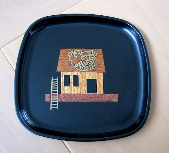 Small Vintage  Couroc Tray -  Wood Fish House on Ocean - under 30