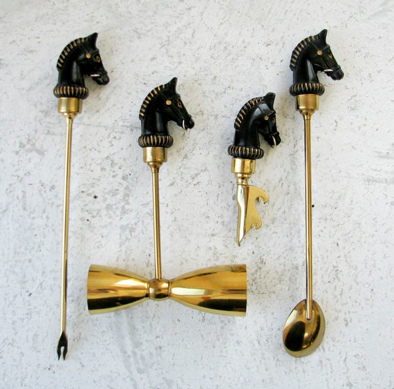 Mid Century Modern Bar Set - Black Horse Heads and Brass Fittings