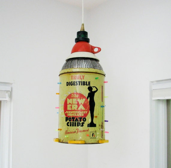 Hanging Pendant Light - Vintage Potato Chip Can - Repurposed
