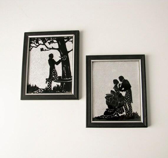 Vintage Silhouette Couple on Foil - Romantic - casual wedding