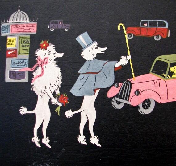 Vintage Poodle Couple in France - 1950s Eugene Lenoir- 4 Trays