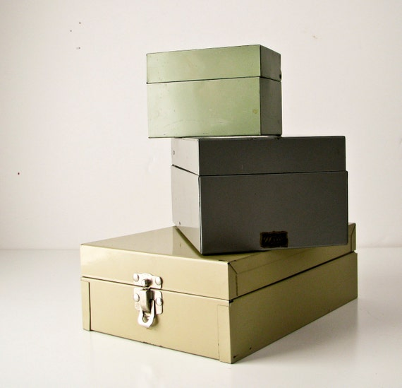3 Vintage Index Card File Boxes - Instant Collection