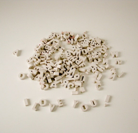 Vintage White Plastic Letters, Numbers, Punctuation