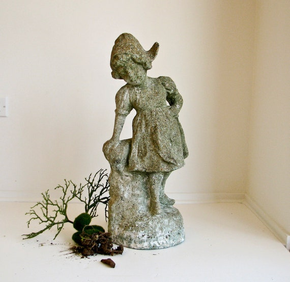 Reserved for Phillip - Vintage Cement Garden Sculpture - Dutch Girl