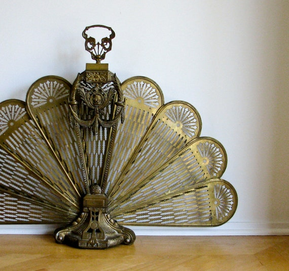 Antique Brass Fireplace Screen - Ornate Skeletal Look